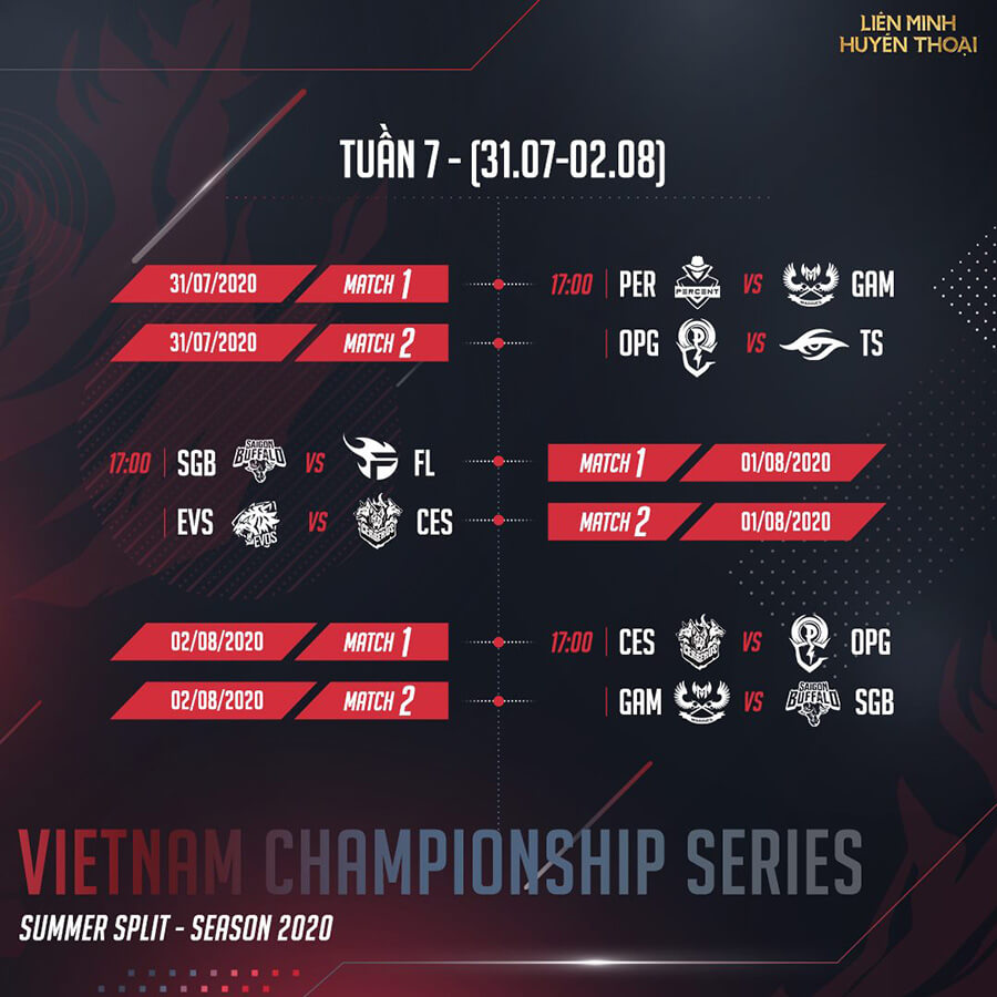 Lịch thi đấu vòng bảng VCS Mùa Hè 2020 Tuần 7