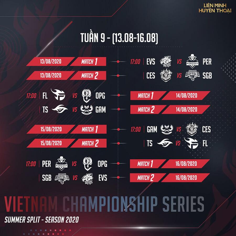 Lịch thi đấu vòng bảng VCS Mùa Hè 2020 Tuần 9
