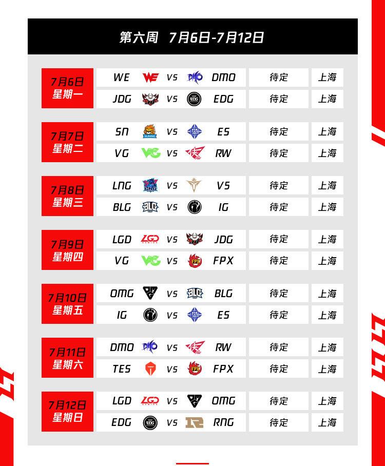 Lịch thi đấu vòng bảng LPL Mùa Hè 2020 Tuần 6