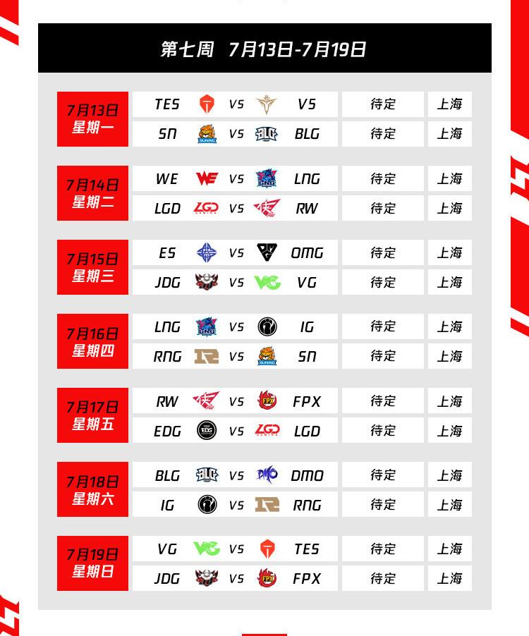 Lịch thi đấu vòng bảng LPL Mùa Hè 2020 Tuần 7