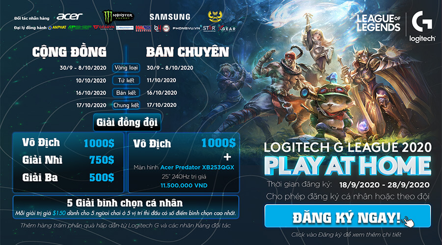 Logitech G League 2020 - Play At Home khởi tranh vào 30/09