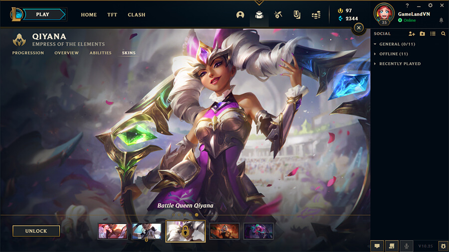 Qiyana Nữ Thần Chiến Binh Splash Art