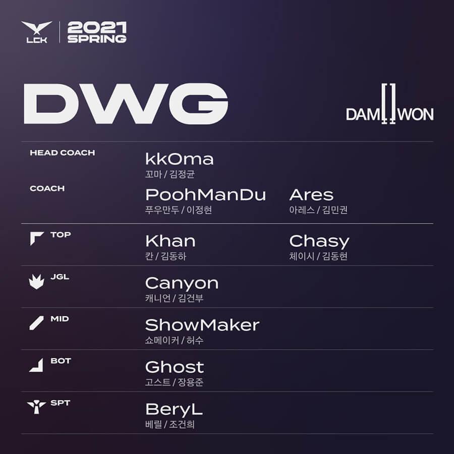 Đội hình lượt đi DAMWON Gaming