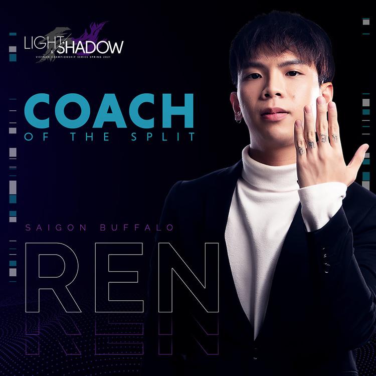 Với những giáo án chất lượng cùng phương pháp giảng dạy hợp lý, Ren đã tạo nên một Saigon Buffalo trên cả tuyệt vời trong giải VCS Mùa Xuân 2021. Chúc mừng Ren với danh hiệu Huấn luyện viên của mùa giải.