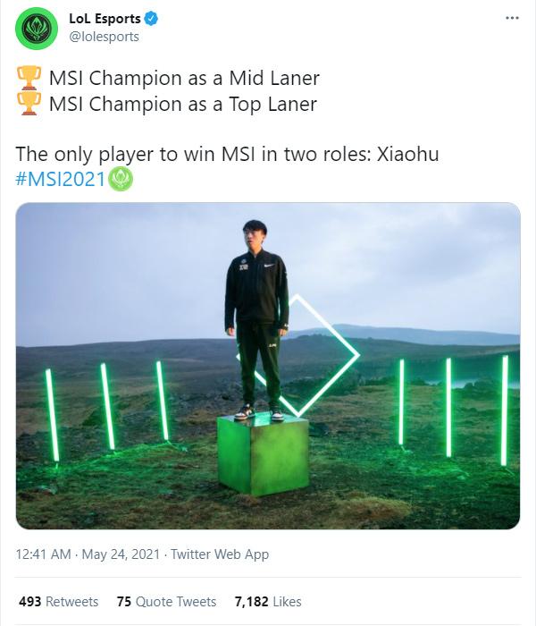 Xiaohu là tuyển thủ đầu tiên vô địch MSI ở hai vị trí khác nhau