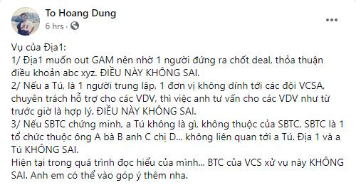Chia sẻ của ông Tô Hoàng Dũng trên Facebook