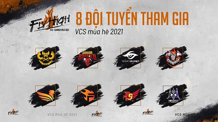 Tám đội tuyển tham dự vòng bảng VCS Mùa Hè 2021