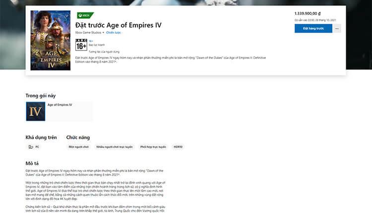 Giá đặt trước Age of Empires IV trên Microsoft Store