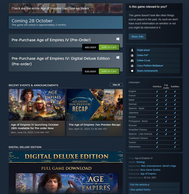 Giá đặt trước Age of Empires IV trên Steam