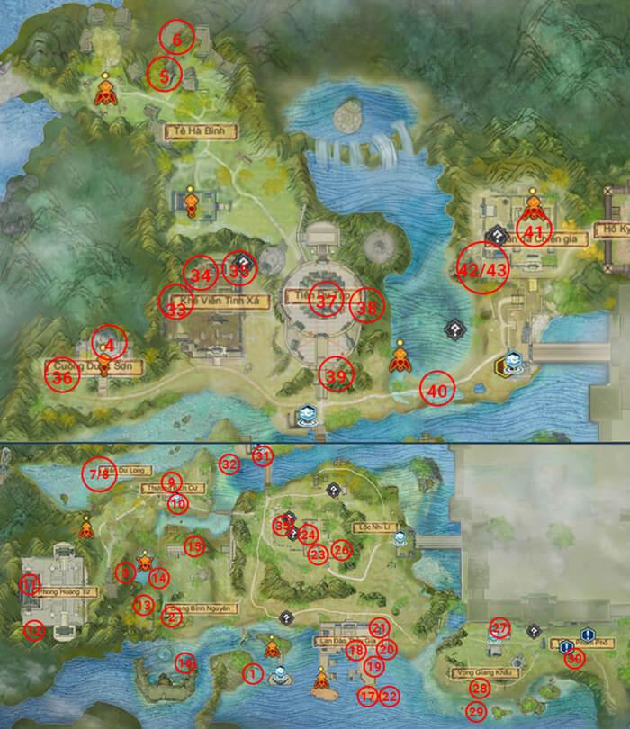 43 vị trí tìm tàng phẩm tại Thượng Hoài Thanh Dã.